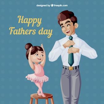 День отца фон с счастливой семьей в плоском стиле