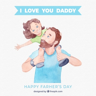 Father's day background with happy family in watercolor style