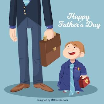 小さな男の子と父親と父の日の背景