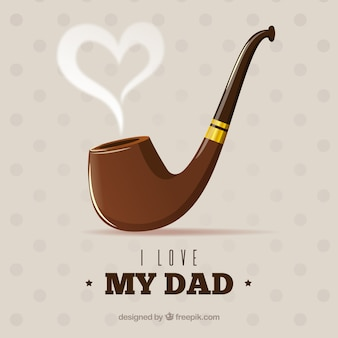 Father's day background with pipe in flat style