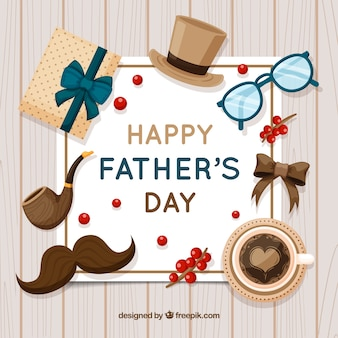 Father's day background with presents in flat style