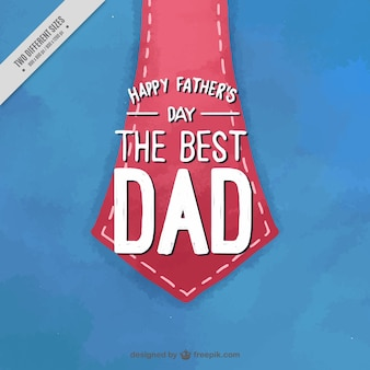 Father's day background with red necktie in watercolor style