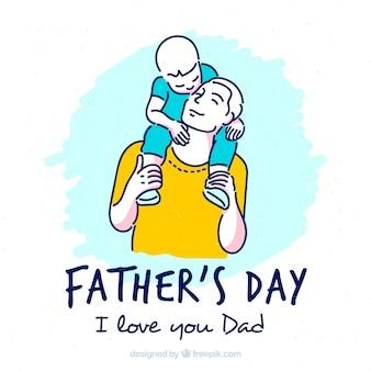 아들과 아빠와 함께 아버지의 날 배경