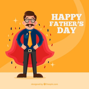 Father's day background with super dad in flat style