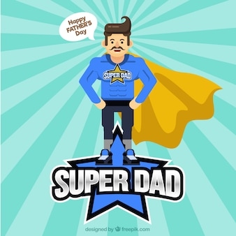 Father's day background with superhero in flat style