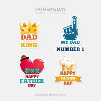 평면 스타일의 아버지의 날 배지 컬렉션