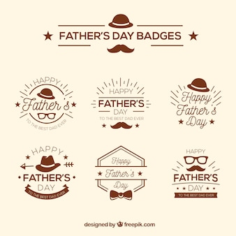 Father's day badges collection in flat style