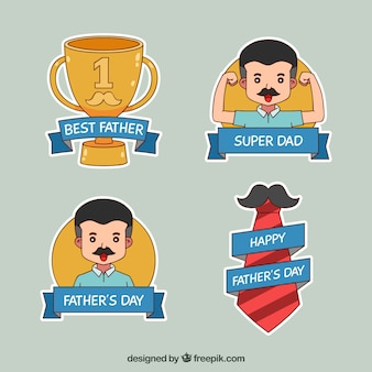 Father's day badges collection with man and elements