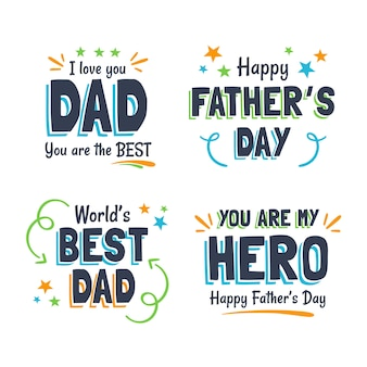Father's day badges in flat design