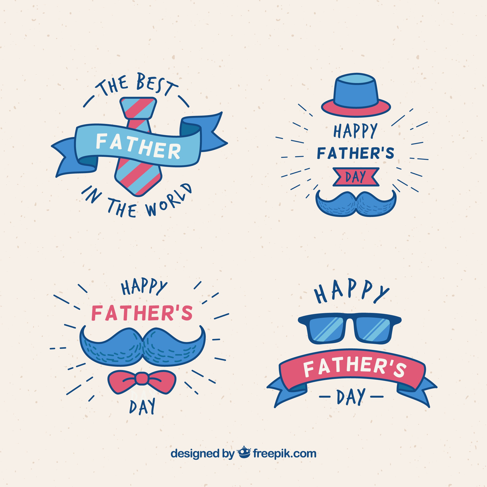 Father's day badges with clothes elements