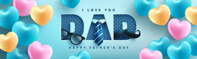 Father's day banner template with necktie, glasses and gift box on blue