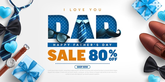 Father's day banner template with necktie, glasses and gift box on white