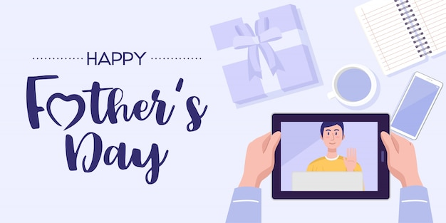 Father's day banner. top view of a man having video conference on tablet with his son at home. vector
