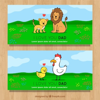 Father's day banners collection with animals in hand drawn styl