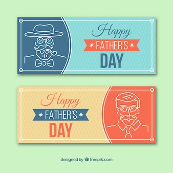 Father's day banners collection with character in monolines