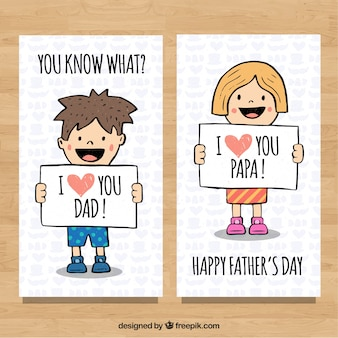 Father's day banners collection with cute kids in hand drawn styl