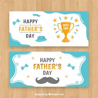 Raccolta di banner festa del papà con elementi