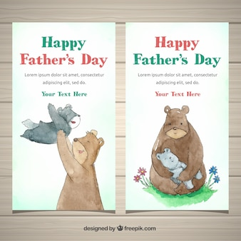 Father's day banners collection with family of bears
