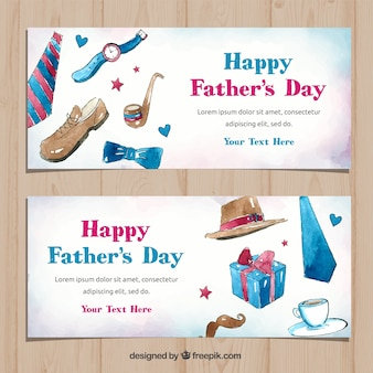 Father's day banners collection with gifts box in watercolor style