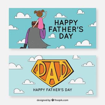Raccolta di banner festa del papà con super papà