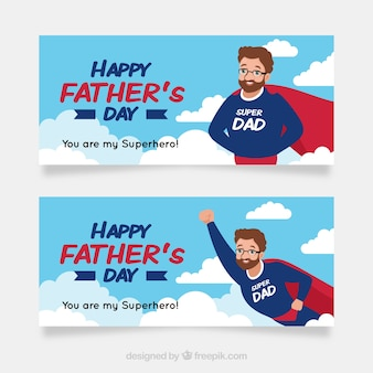 Raccolta di banner festa del papà con superdad