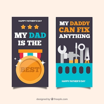 Father's day banners collection with tools and medal