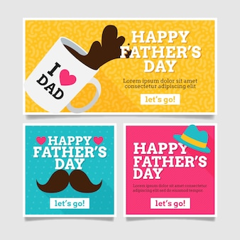 Father's day banners in flat design