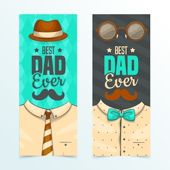 Father's day banners hand drawn design
