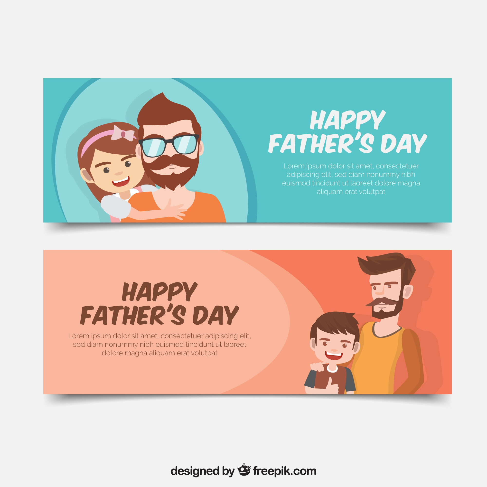 Father's day banners of man with his son and daughter