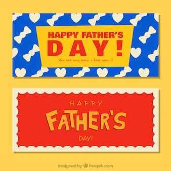 Father's day banners with flat patterns