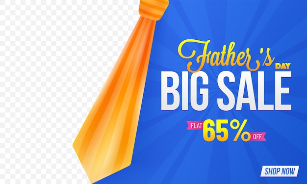 Father's day, big sale banner design with a necktie and space for product images, 65% off