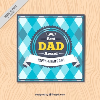 Father's day card with blue and white rhombus