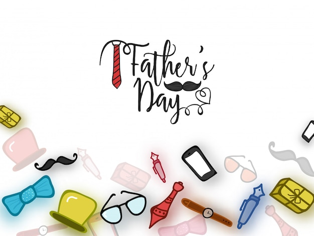 Father's day celebration concept with doodle icons of accessories and utilities of a man o