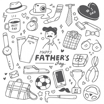 Father's day cute doodle set