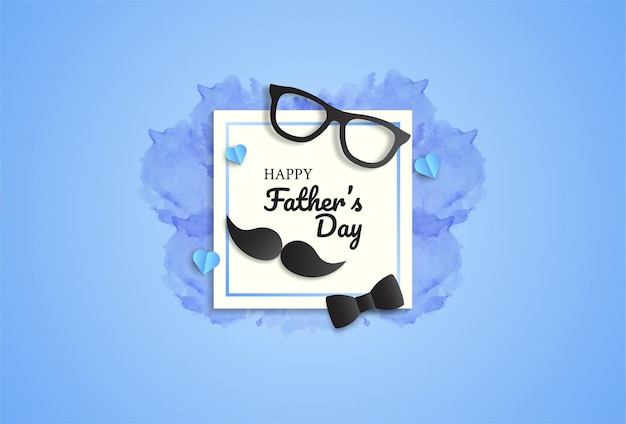 Father's day greeting card design with bow tie, glasses and mustache. Premium Vector