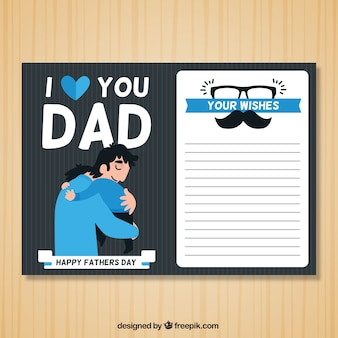 Father's day greeting card with blue details