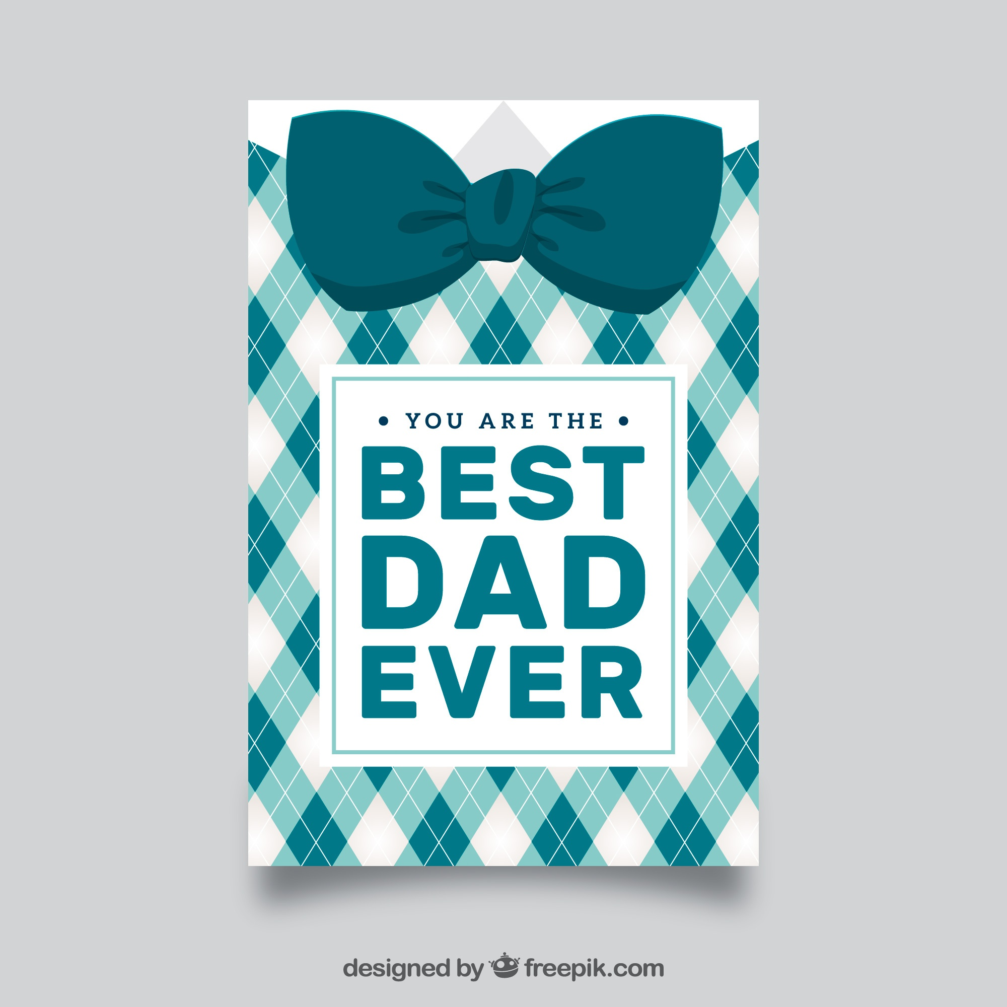 Father's day greeting card with decorative bow tie