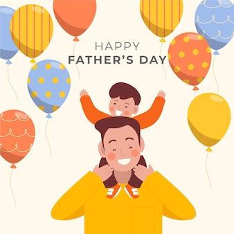 父の日幸せな家族と風船