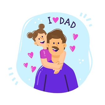 Father's day illustration of dad holding his daughter