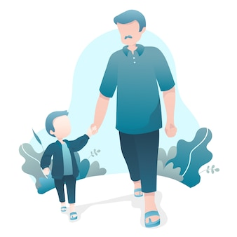 Father's day illustration with dad and son walking together holding hands
