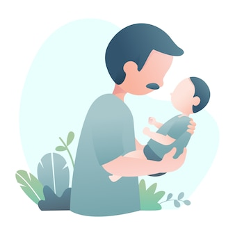 Father's day illustration with daddy carries his son