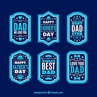 Father's day labels collection in flat style