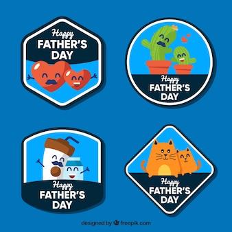 Collezione di etichette festa del papà con simpatico cartone animato