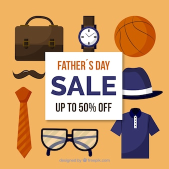 Father's day sale background with clothes elements