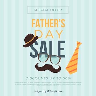 Fondo di vendita di festa del papà con elementi di vestiti