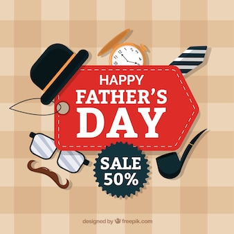 Father's day sale background with flat elements
