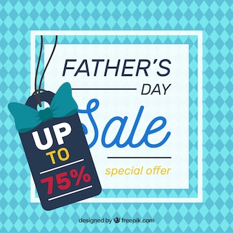 Father's day sale background with pattern in flat style