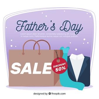 Fondo di vendita di festa del papà con il sacchetto della spesa