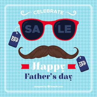 Father's day sale background with sunglasses and moustache