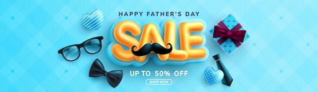 Father's day sale banner template with necktie, glasses and gift box on blue